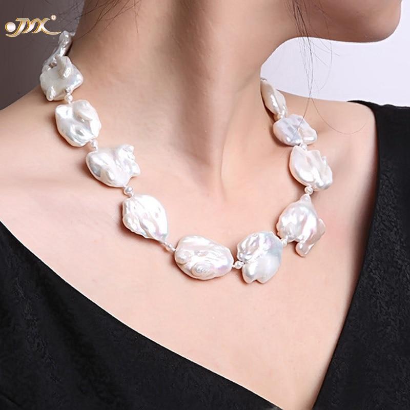 JYX finom fehér édesvízi kultúrált barokk gyöngy nyaklánc - Finom ékszerek