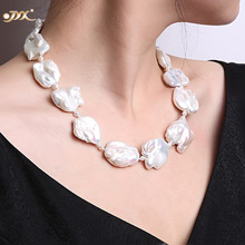 JYX Fine White пресноводный культивированный барокко Жемчужина ожерелье Party Wedding Jewery Gift AAA 16-20 ""