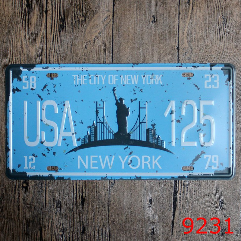 LOSICOE Vintage license plate USA 125 Metal signs home decor Office Restaurant Bar Metal Painting art 15x30 CM