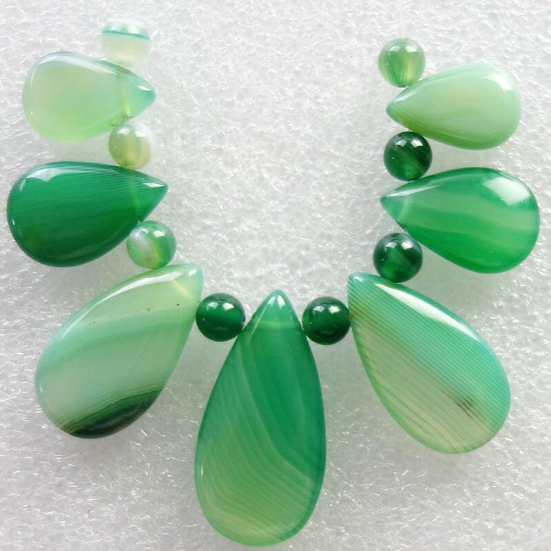 Livraison Gratuite Intéressant 8 pcs Vert Onyx Pierre Perles 5mm & 7 pcs Vert Onyx Pierre Larme Pendentif Perle ensemble SQ020