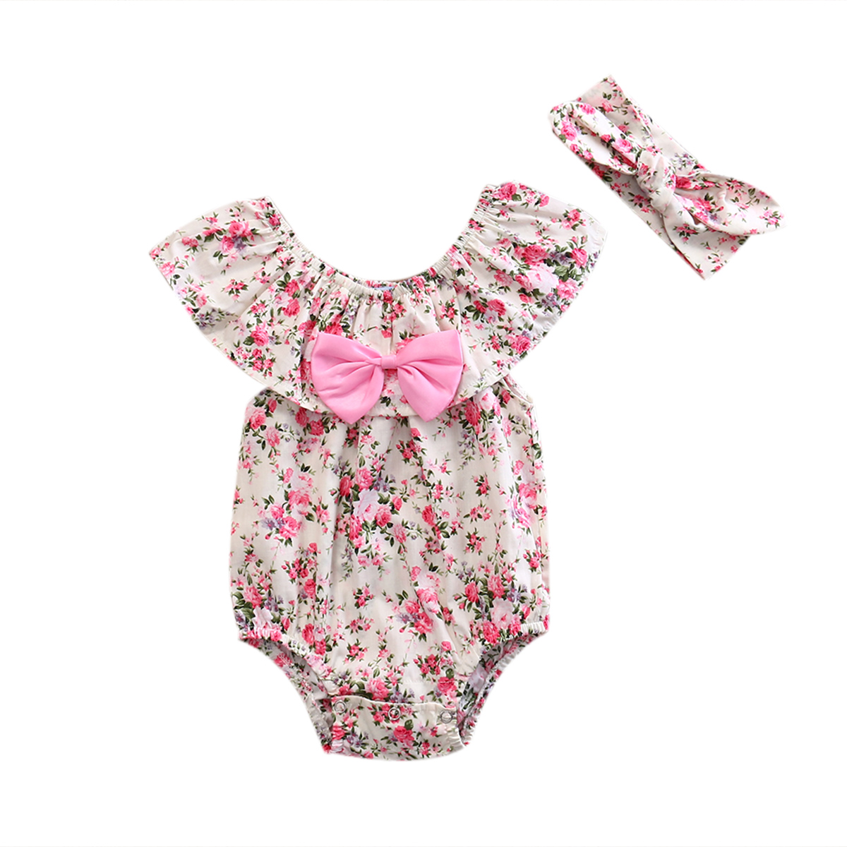 2017 New Hot Newborn Baby Girls   Romper   Lace Floral   Romper   Ruffle Jumpsuit Playsuit Clothes One Piece Suit Beach Dress