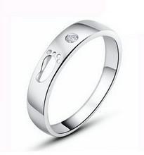 Free shipping fashion Little Feet design zircon 925 silver unisex finger rings jewelry wholesale 1pcs/lot цена 2017