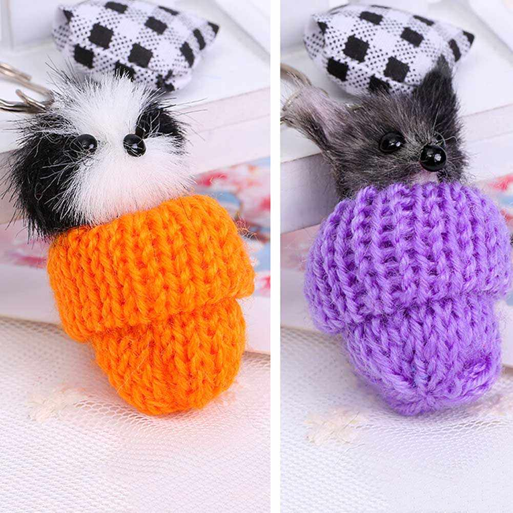 Pele Pompom pingente carro Charme Mulheres Bag Pingente Chaveiro Fofo Pequenos Animais em um chapéu Imitação Chaveiro de cabelo Cor Aleatória