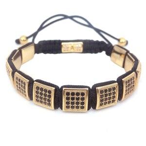 Image 2 - Pulseras cuadradas de moda europea y americana para mujer, pulsera de caja Micro Pave CZ hombres pulsera trenzada reloj joyería salvaje
