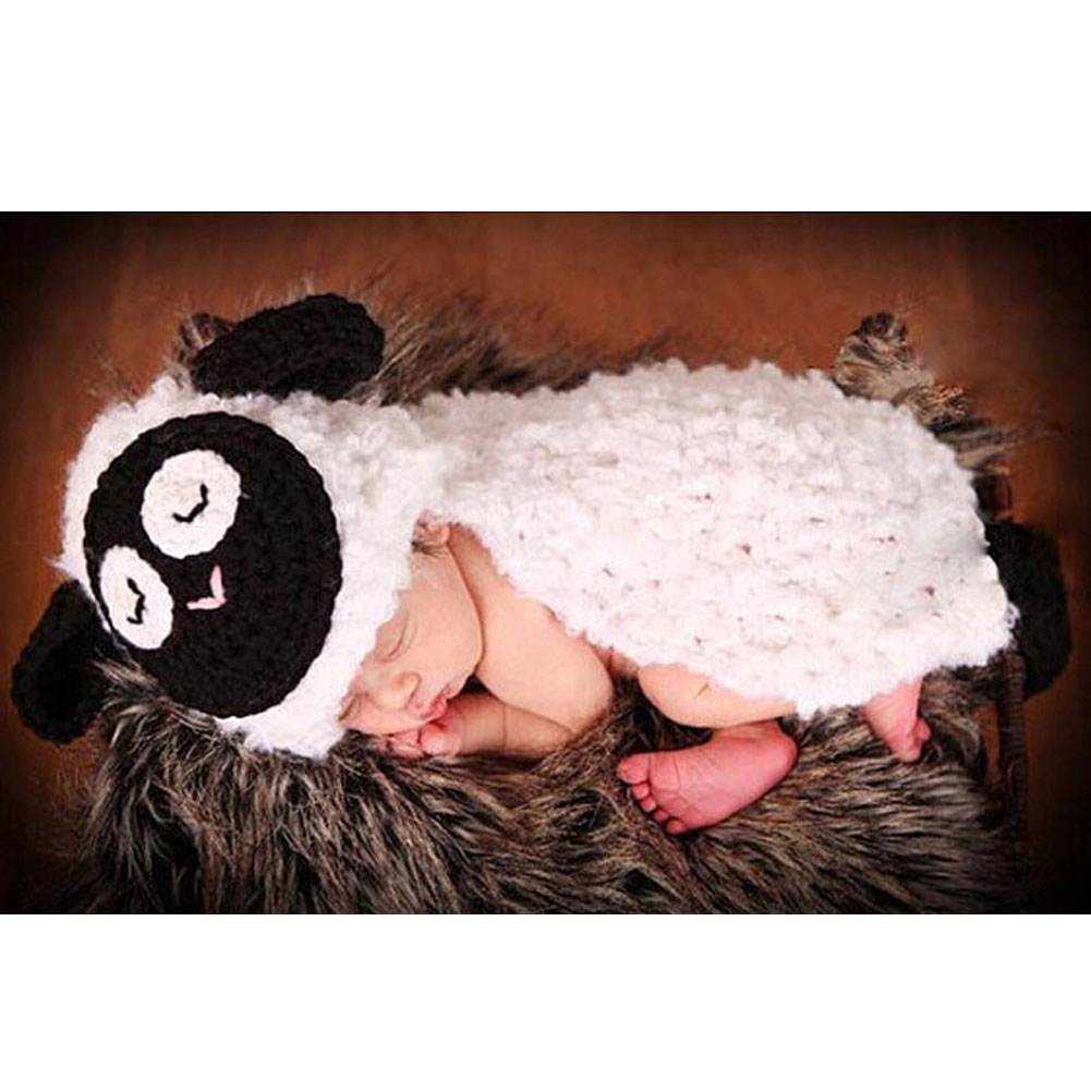 Cute Baby Hat Sheep Costume Set Photography Props Infant Knit Crochet Beanie Animal Hat Handmade  LB newborn baby photography props infant knit crochet costume peacock photo prop costume headband hat clothes set baby shower gift
