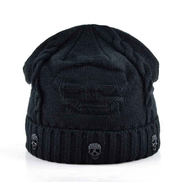 Mens Skull Winter Hat Beanies Knitted Wool Hip Hop Stocking Hat Plus Velvet Rasta Cap Skull Bonnet Hats For Men