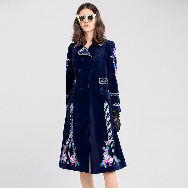 Women 2018 fashion autumn winter luxury flower embroidery long double breasted casual work blue velvet trench overcoat casaco