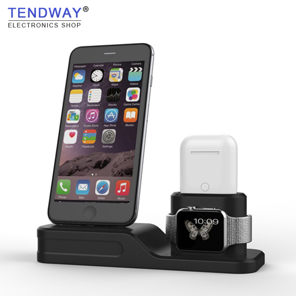 Tendway 3 in 1 Silicone for Airpods Case Charger for Apple Airpods Accessories Dock Stand Mobile Phone holder for Apple Apple аксессуар чехол activ для apple airpods silicone 90618