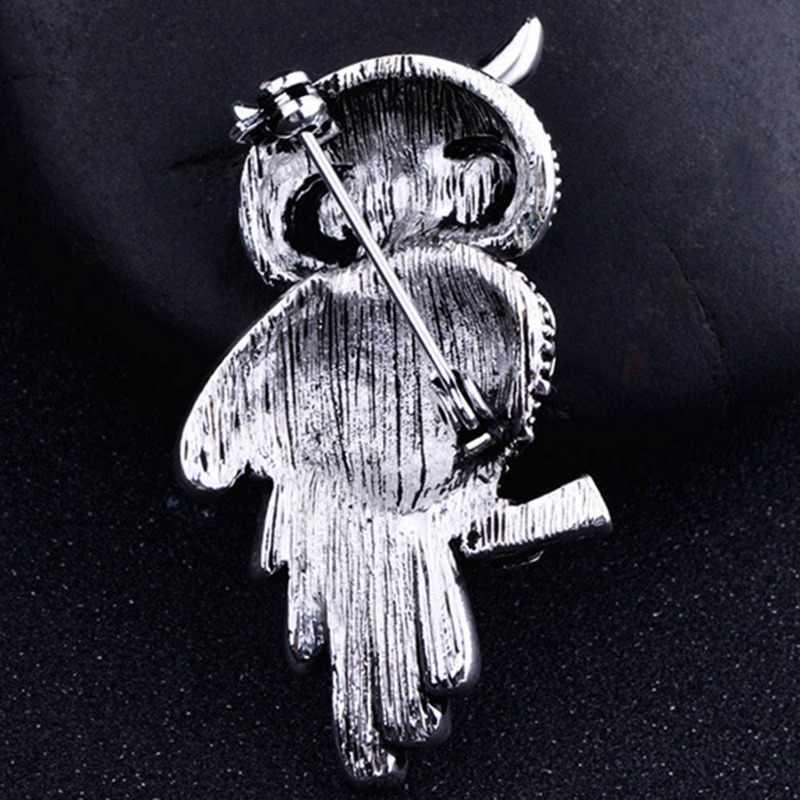Древняя Женская Мужская сова корейский цинковый сплав Мода Искусственный горный хрусталь синий брошь значок рождественские подарки аксессуары