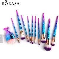 11Pcs Mermaid Fish Tail Shaped Diamond Rose Gold Makeup Brush Set Foundation Powder Cosmetics Brush Rainbow