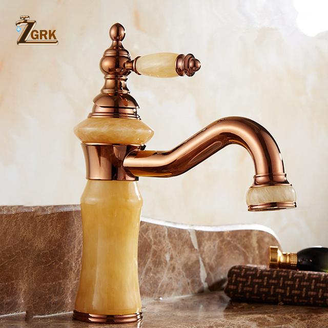 ZGRK Bathroom Sink Faucet Vintage Rose Golden Luxury Mixer Faucets Torneira WC Environmental Tap Acocina Retro Basin Taps