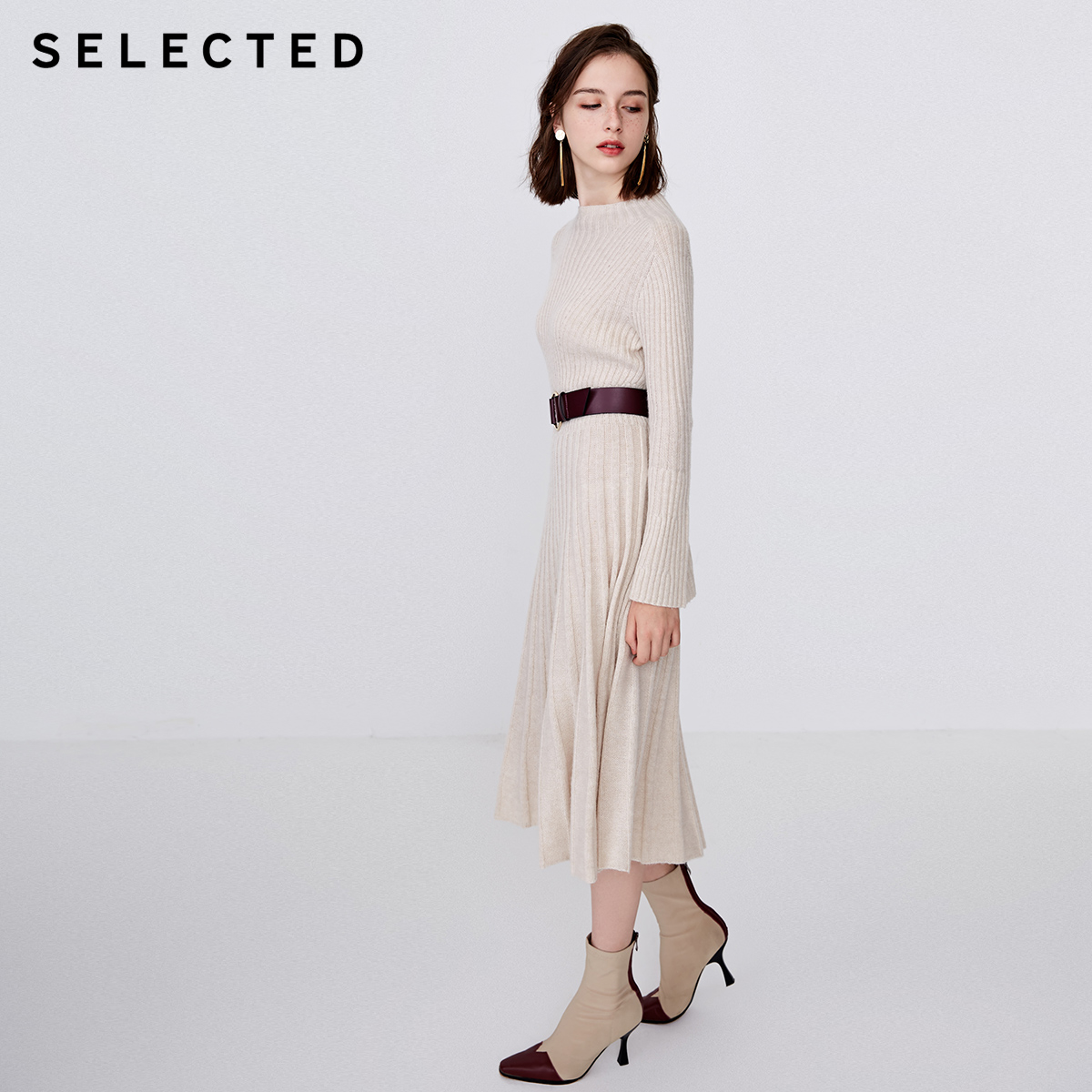 SELECTED Woman Wool Jacquard Knitted Mid length Dress  S  418446505-in Dresses from Women's Clothing    3