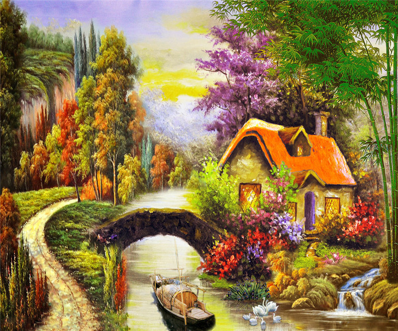 5 d diamond diamond embroidery landscape american artist paintings cottages house pictures of crystals rhinestones mosaic crafts