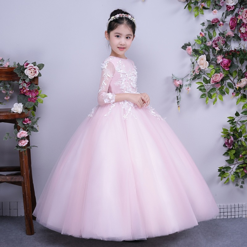 New Fluffy Tulle Ball Gown First Communion Dresses Pink Appliques Flower Girl Dress for Wedding Kids Long Prom Evening Gowns