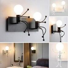 Современный настенный светильник-робот с двойной головкой, креативный прикроватный металлический подвесной светильник в коридоре для украшения комнаты