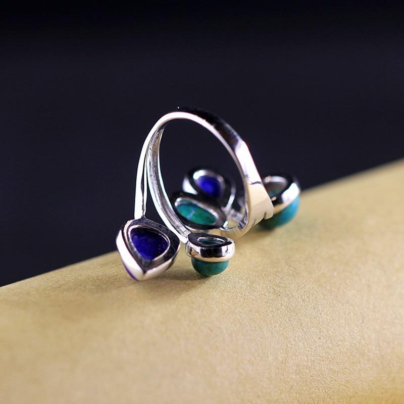S925 pur argent bijoux mode et élégante femme phoenix pierre collocation lapis anneau - 5