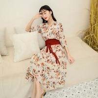 Popular Floral print Kimino Stylish Summer Beach holiday Dress Plus size female sexy Slim belts Dress