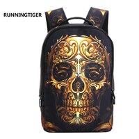 Mochila Vintage Fashion 3D Cartoon Printing Backpack Street Punk Rock Backpacks Bag Skull Backpack School Bags
