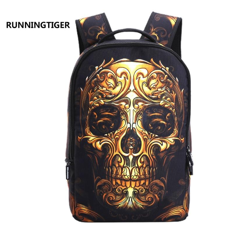 RUNNINGTIGER 3D Skull Laptop Backpack for Men Punk Rock Printing School Backpack Casual School Bags for Boys