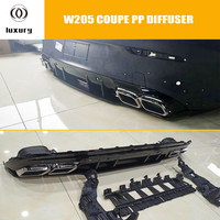 C63s Style PP Rear Bumper Diffuser Spoiler with Exhaust Tips for Benz C205 W205 Coupe 2DR C200 C300 C43 with AMG Package (no c63
