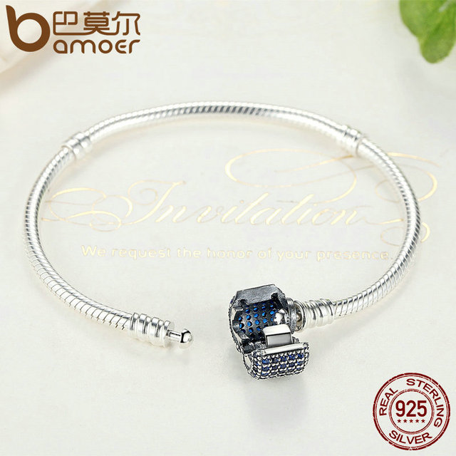 Sterling Silver Blue Snake Clasp fit Charm Chain