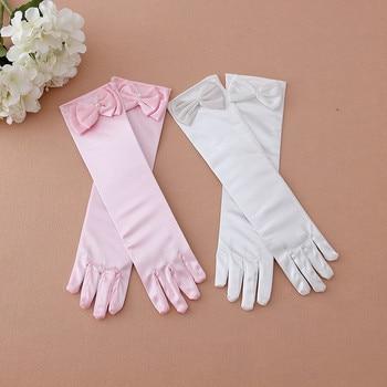 In stock!Retail Fashion Kid Stretch Satin Long Finger Gloves for Flower Girl Children Party Gloves Pink/White free ship