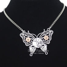 Ornate Silver Butterfly Watch Clock Hand Gear Cog Steampunk Chain Necklace Jewelry 2017 New