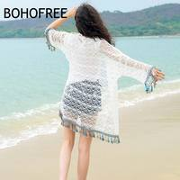 BOHOFREE Outerwear Holiday Beach Kimono Cardigan Tops Tassels Hollow Out Crochet Lace Blouse Mujer Blusas Sun Protection Tops