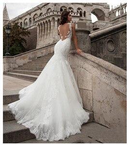 Image 3 - LORIE  Mermaid Wedding Dress See Through Back 2019 Vestidos de novia Vintage Sexy Scoop Neck Bride Dresses Floor length