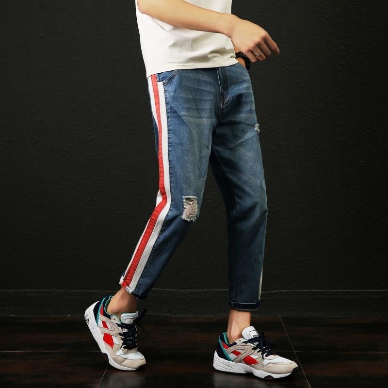 2018 New Original Men Fashion Casual Blue Holes Side Stripe Cowboy Pants Stretch Slim Fit Jeans Homme Denim Trousers Plus Size