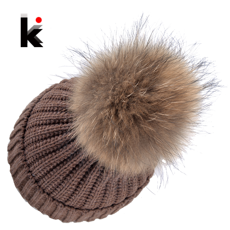 Autumn Winter Beanie Hat Knitted Wool Beanies Cap With Raccoon Fox Fur Pompom Skullies Caps Ladies Knit Winter Hats For Women women s winter beanie hat wool knitted cap shining rhinestone beanie mink fur pompom hats for women