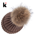 Autumn Winter Beanie Hat Knitted Wool Beanies Cap With Raccoon Fox Fur Pompom Skullies Caps Ladies Knit Winter Hats For Women