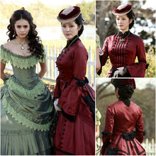 Freeship!19 Century Red Vintage Costumes 1860S Victorian Civil War Southern Belle Gown Dress Scarlett dresses US 4-36 C-119