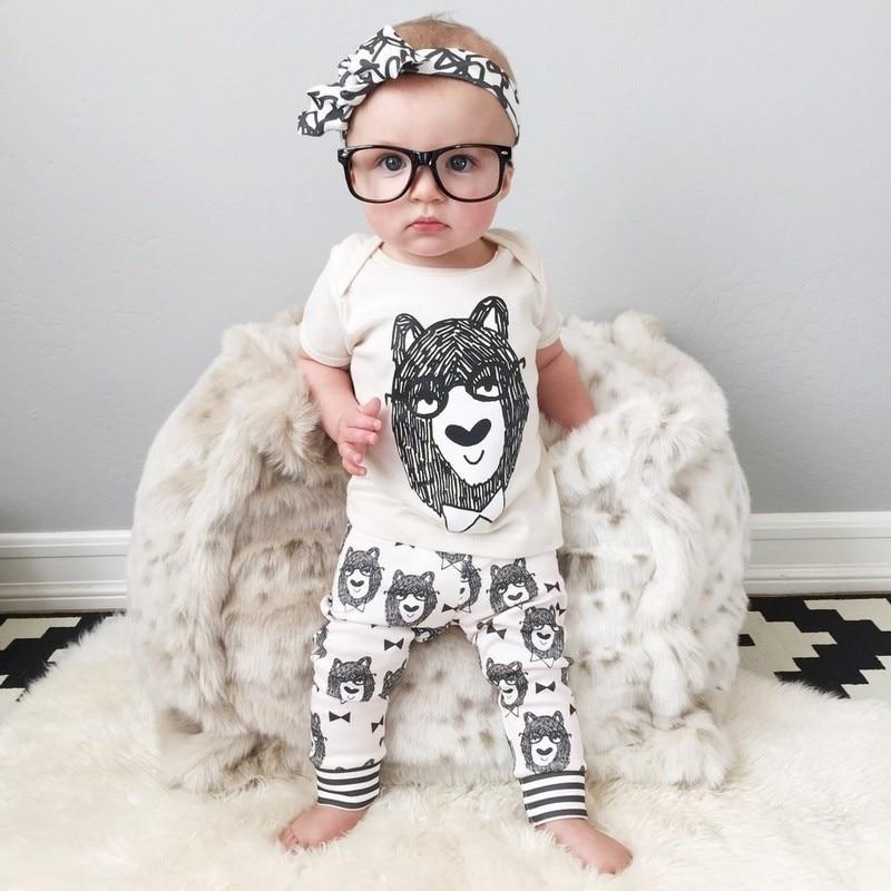 Takat e foshnjës Veshjet për foshnje Veshjet me bluzë verore të porsalindur + Pantallona shirita 2 copë kostume Toddler pambuku O-Qafë Rroba Karakteri