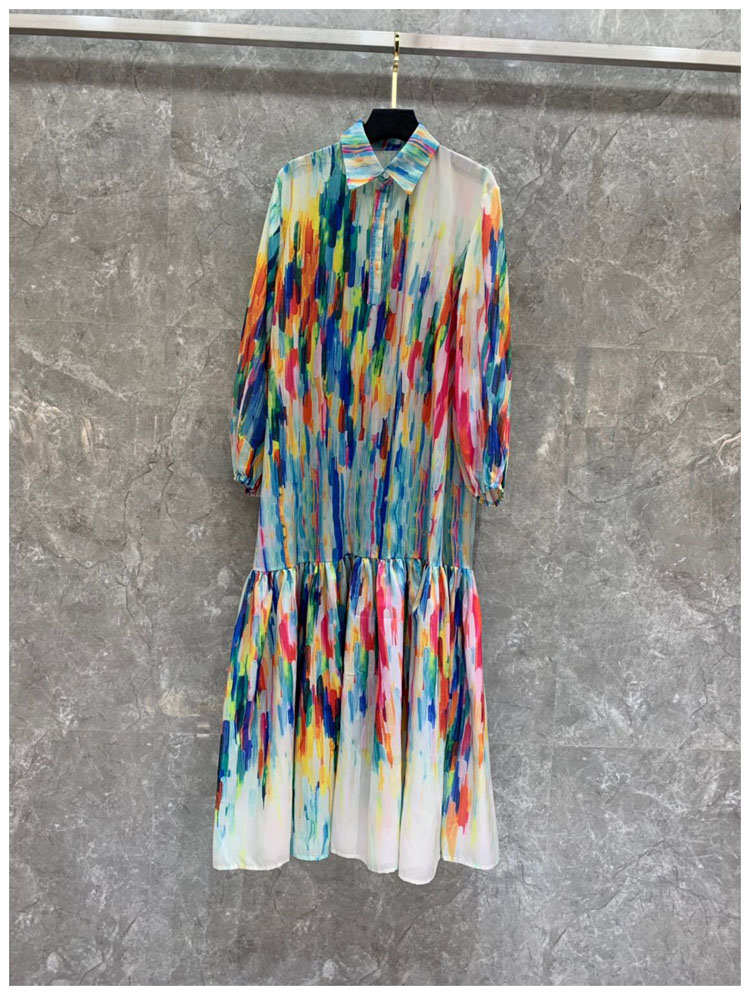 Arc-en-ciel impression femmes robe de soirée colorée à manches longues col rabattu grand Rufflus robe de grande taille vestidos féminins