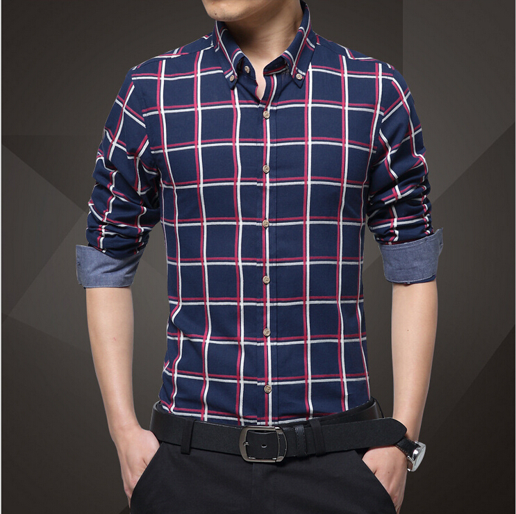 Plus Size 4XL Men Plaid Shirts Single Breasted Luxury Slim Long ...