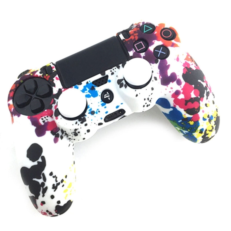 3-In-1 Anti-Slip Multicolor Silicone Cover Skin <font><b>Case</b></font> + 2 Thumbsticks Grips For Sony <font><b>PS4</b></font> Pro Slim <font><b>Controller</b></font> image