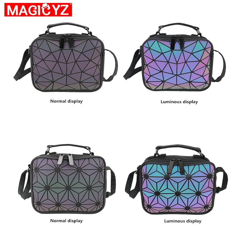 Image 2 - MAGICYZ Women Laser Luminous handbags Small Crossbody Bags for Women Shoulder bag Geometric Plaid Hologram small Square bags-in Shoulder Bags from Luggage & Bags