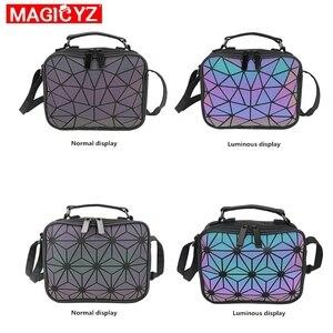 Image 2 - MAGICYZ kadın lazer ışık çanta küçük Crossbody çanta kadınlar için omuzdan askili çanta geometrik ekose tote bayan deri çanta