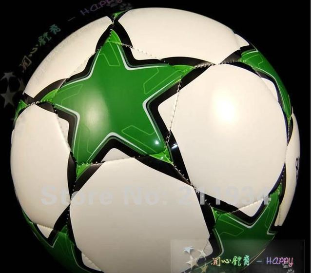 free shipping 2013 Green star soccer ball, official size and weight,Popular style for football fans