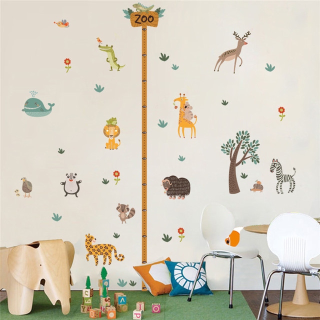 Jungle Wild Zoo Animals Height Measure Wall Stickers For Kids Room