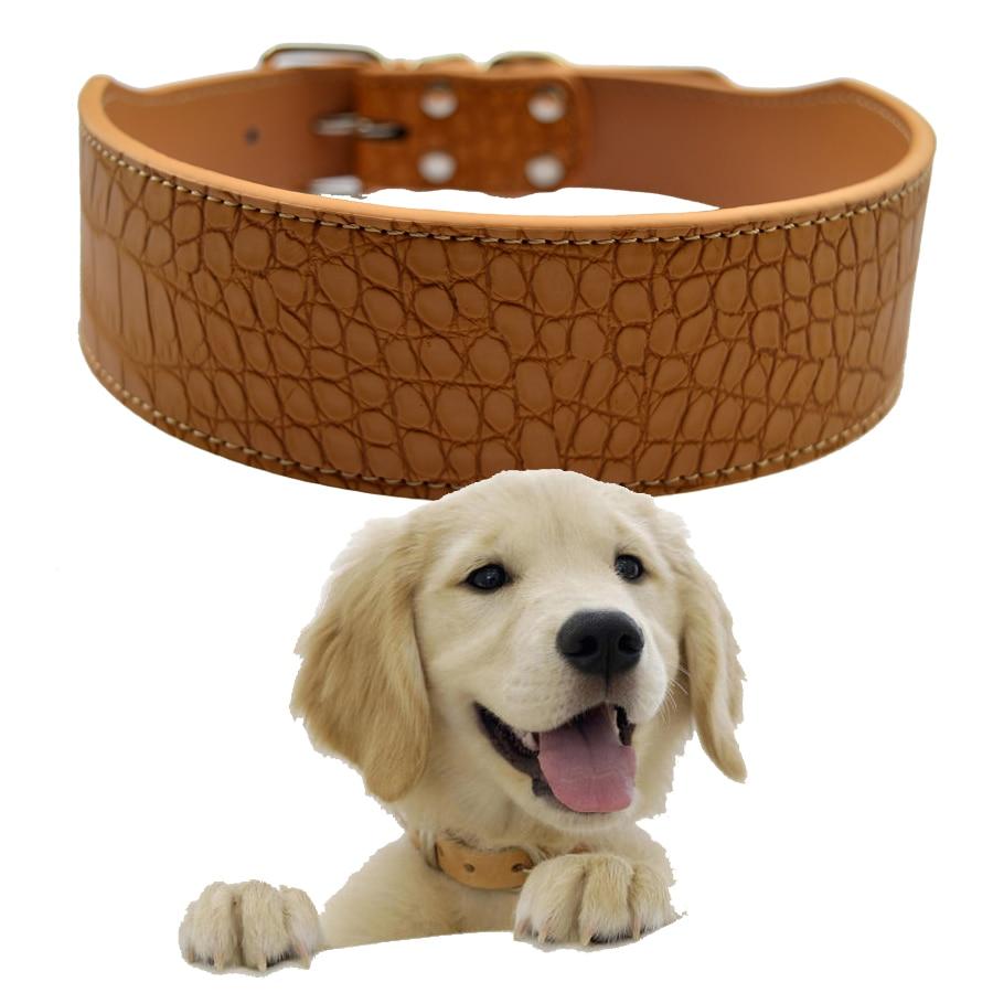 2 hüvelykes széles Croc bőr kutya nyakörv közepes nagyméretű nyakörvek kutyáknak Pitbull masztiff boxer piros rózsaszín fekete fehér arany sárga