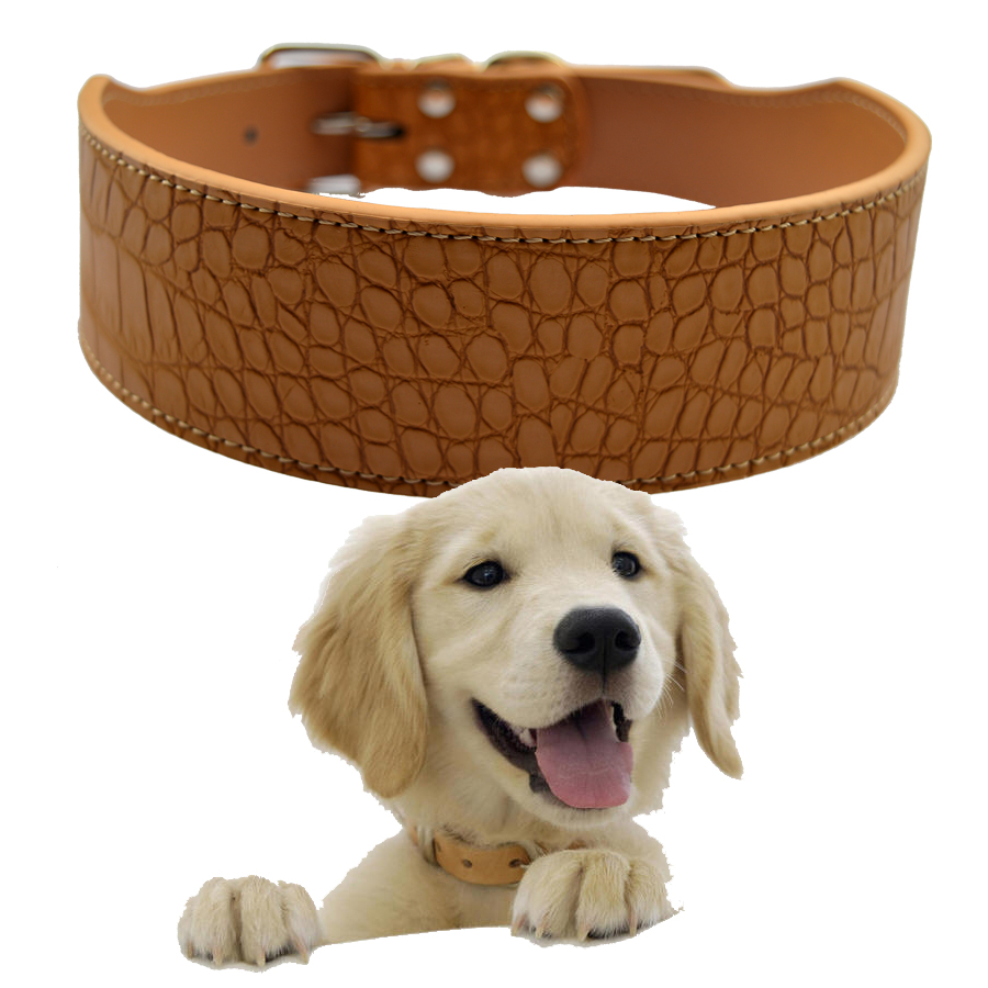 2 Inch Wide Croc Lederen Halsband Medium Large Halsbanden Voor Honden Pitbull Mastiff Boxer Rood Roze Zwart Wit Goud Geel