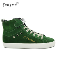 CANGMA Italian Handmade Genuine Leather Sneakers Men Boots Designer Casual Shoes Green Cow Suede Ankle Boots