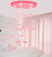 Chandelier pink children's princess room bedroom lamp butterfly ceiling lamp led restaurant porch decoration lamp American Frenc