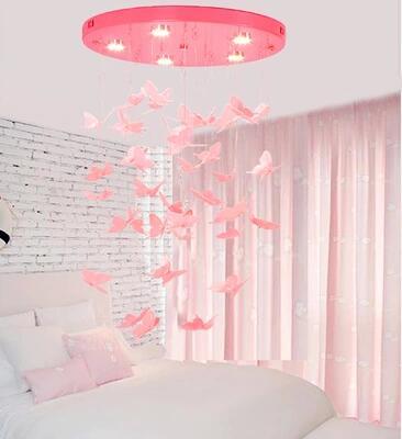 Lustre rose chambre princesse enfant lampe chambre papillon plafonnier led restaurant porche décoration lampe Frenc américain