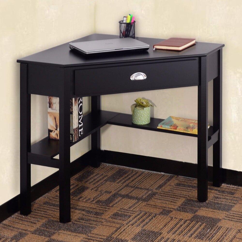 GIANTEX coin ordinateur de bureau ordinateur portable Table d'écriture en bois moderne meubles de bureau à domicile avec tiroir et étagère HW53866
