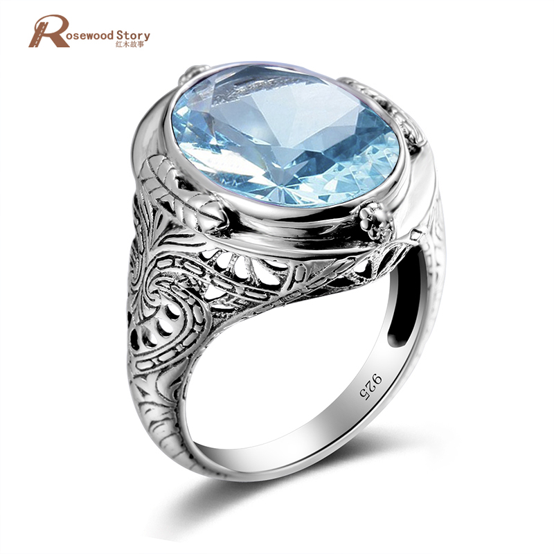 New Trend 925 Sterling Silver Ring Sky Blue Stone Crystal Men Ring Vintage For Women Wedding Cocktail Party Luxury Brand Jewelry