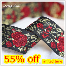 3.3CMx 5yards/lotto di matrice Nera rose rosse tessitura Filigrana Trim Laciness decorazione in stile Europeo Nazionale ricamato Nastro(China)