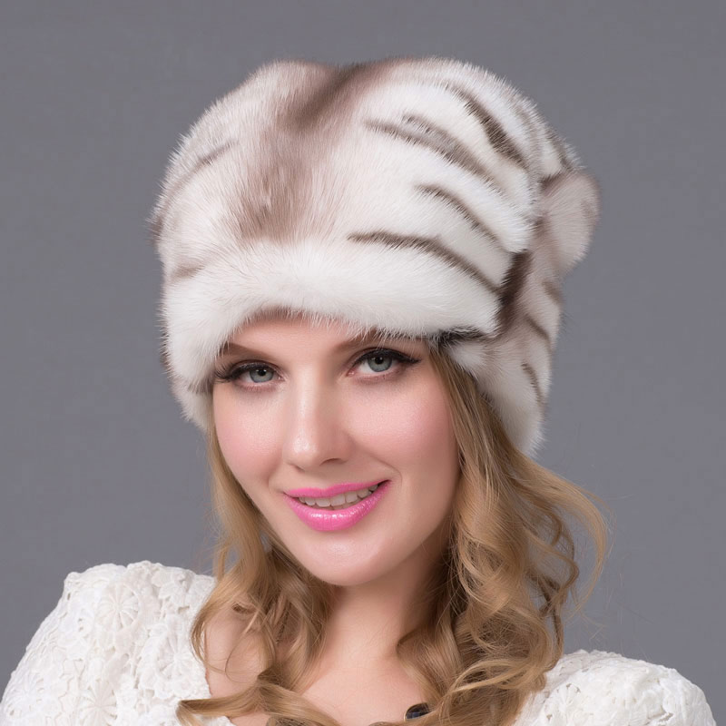 2018 réel vison fourrure chapeaux importé entier vison fourrure chapeau de luxe femelle haut de gamme casquette naturel fourrure chapeaux dame hiver chaud casquette DHY-60A